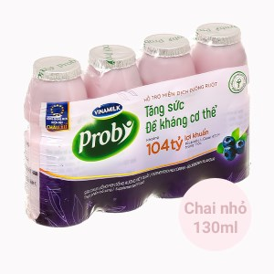 Lốc 4 chai sữa chua uống hương việt quất Vinamilk Probi 130ml