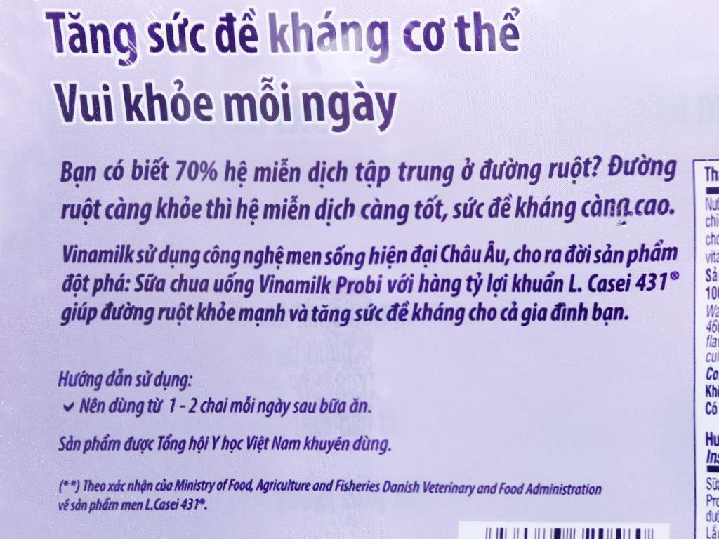 Lốc 4 chai sữa chua uống hương việt quất Vinamilk Probi 130ml 6