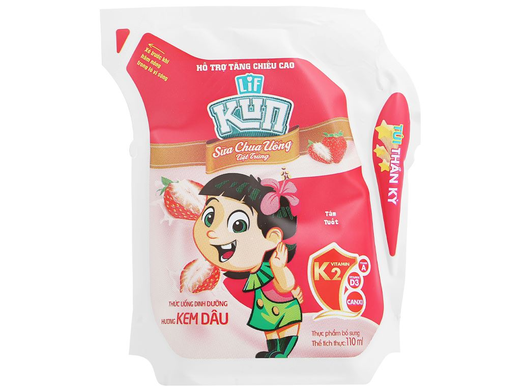 Sữa chua uống hương kem dâu LiF Kun túi 110ml 1