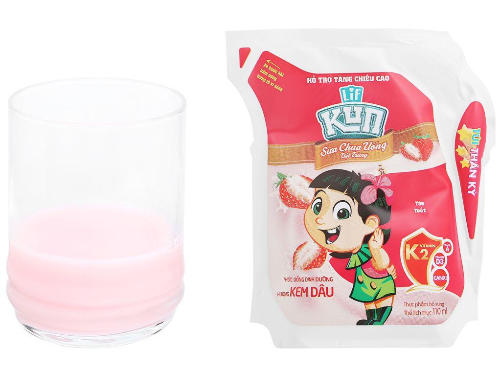 Sữa chua uống hương kem dâu LiF Kun túi 110ml 5