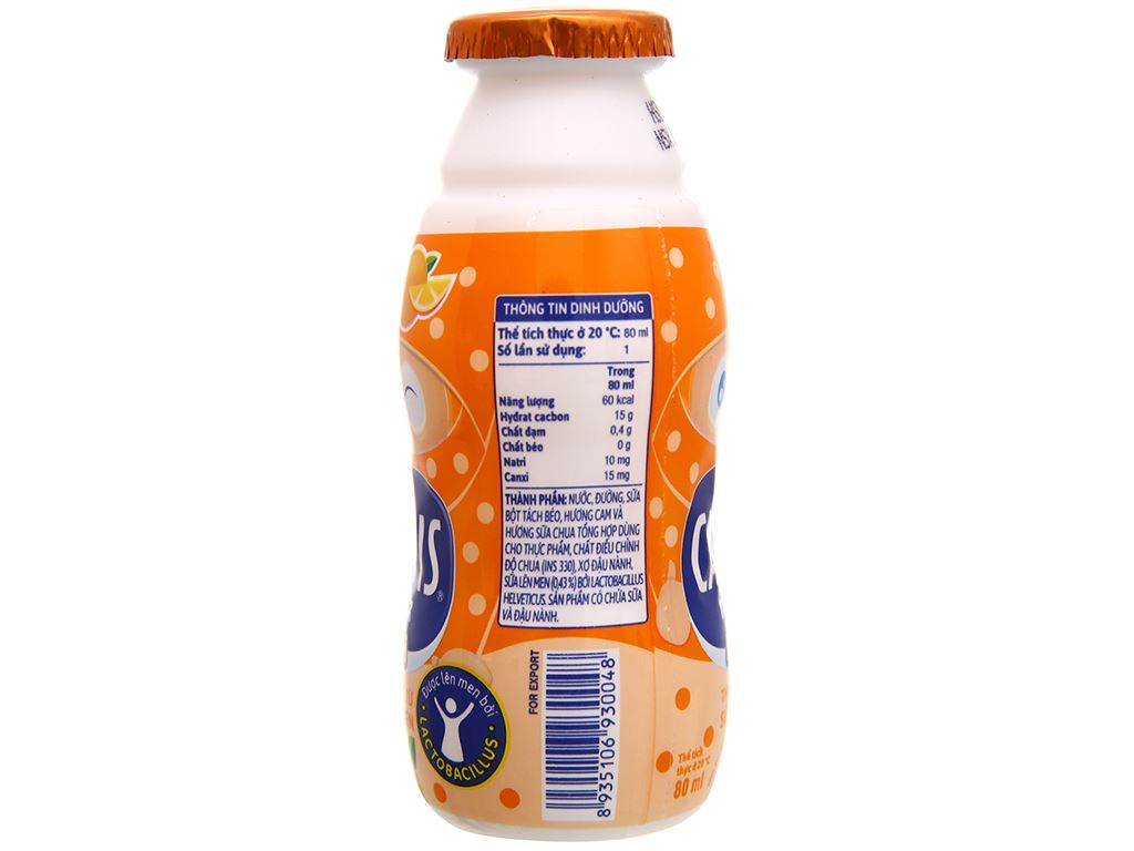 Lốc 5 chai thức uống từ sữa lên men vị cam Calpis Mini 80ml 3