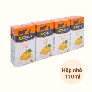 Lốc 4 hộp sữa chua uống vị cam Ecomilk 110ml