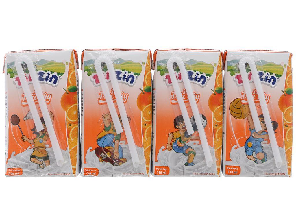 Lốc 4 hộp sữa trái cây vị cam ZinZin 110ml 2