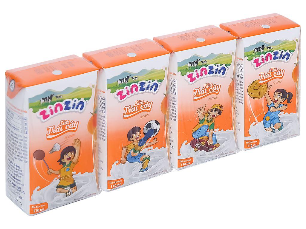 Lốc 4 hộp sữa trái cây vị cam ZinZin 110ml 1