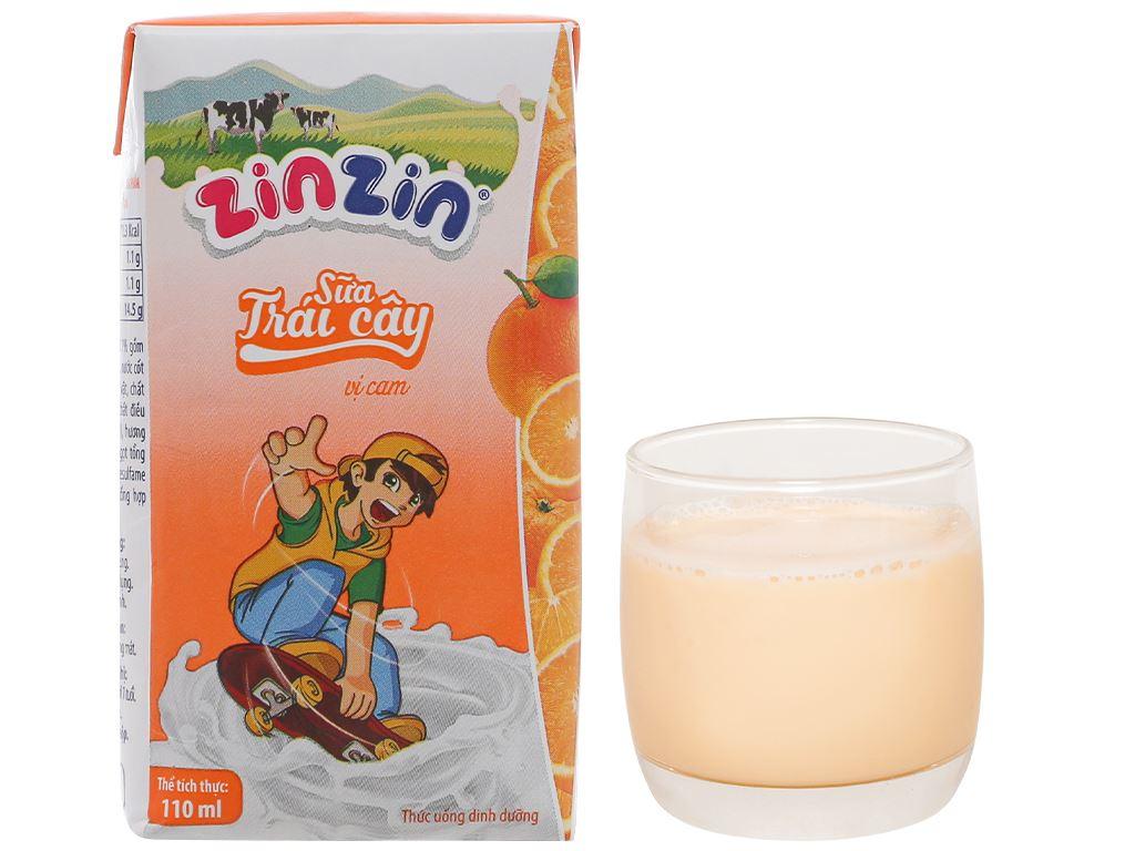 Lốc 4 hộp sữa trái cây vị cam ZinZin 110ml 9