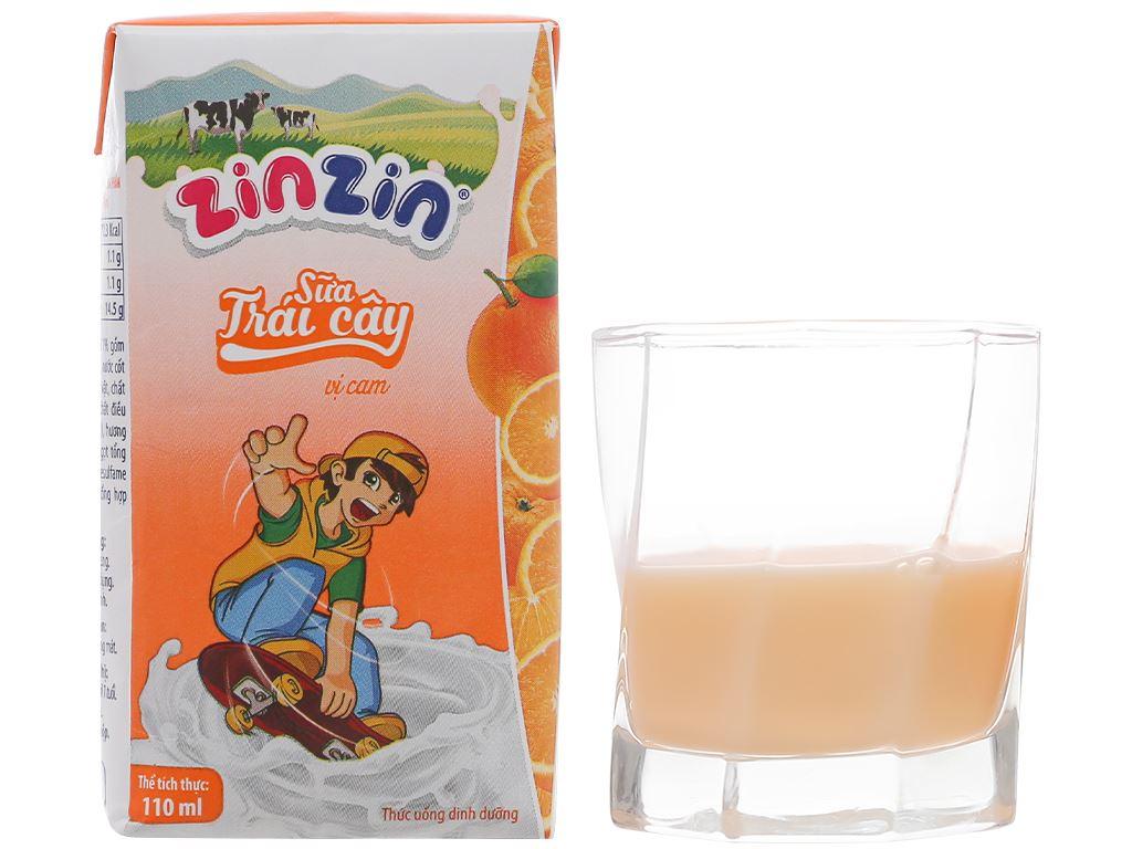 Thùng 48 hộp sữa trái cây vị cam ZinZin 110ml 8