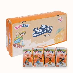 Thùng 48 hộp sữa trái cây vị cam ZinZin 110ml