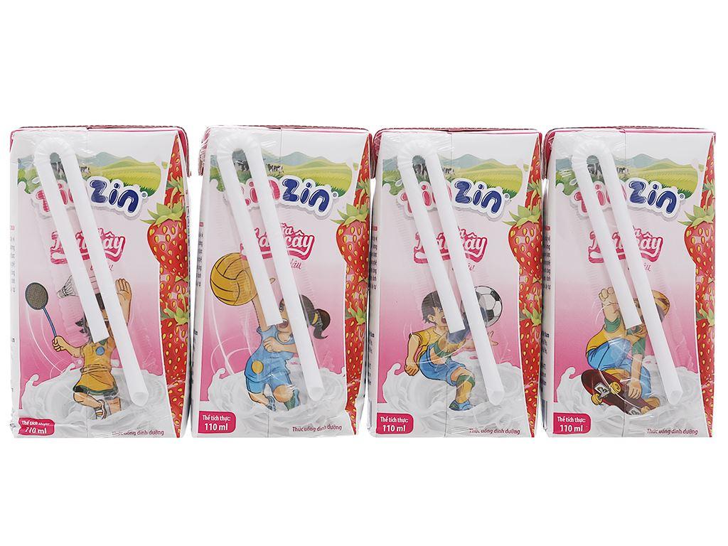 Lốc 4 hộp sữa trái cây vị dâu ZinZin 110ml 2