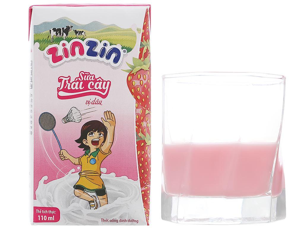Lốc 4 hộp sữa trái cây vị dâu ZinZin 110ml 7