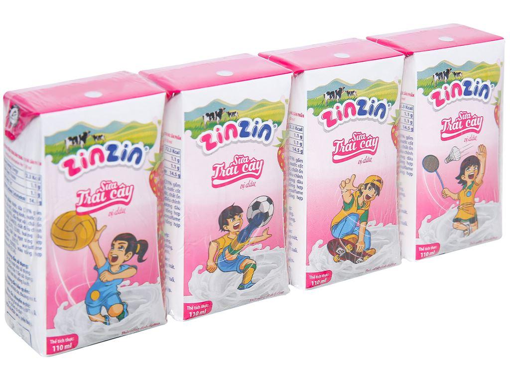 Lốc 4 hộp sữa trái cây vị dâu ZinZin 110ml 1