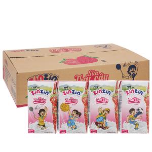 Thùng 48 hộp sữa trái cây vị dâu ZinZin 110ml