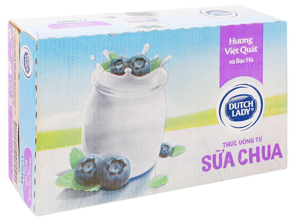 Thùng 48 hộp sữa chua lên men vị việt quất bạc hà Dutch Lady 180ml 1