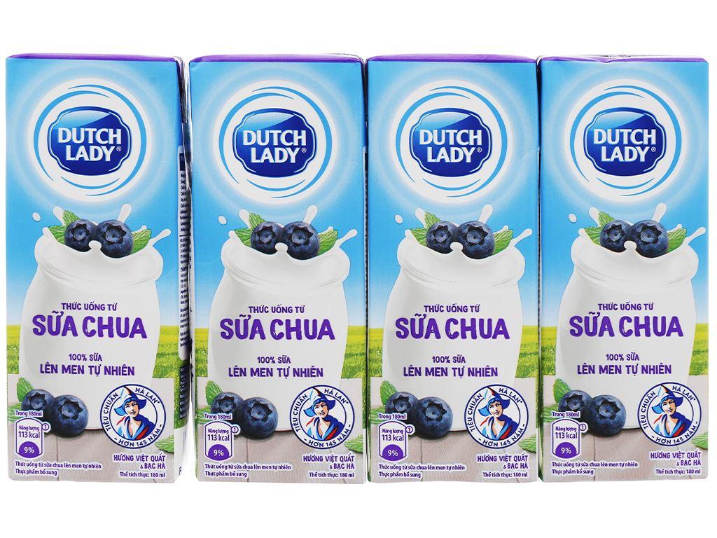 Thùng 48 hộp sữa chua lên men vị việt quất bạc hà Dutch Lady 180ml 2