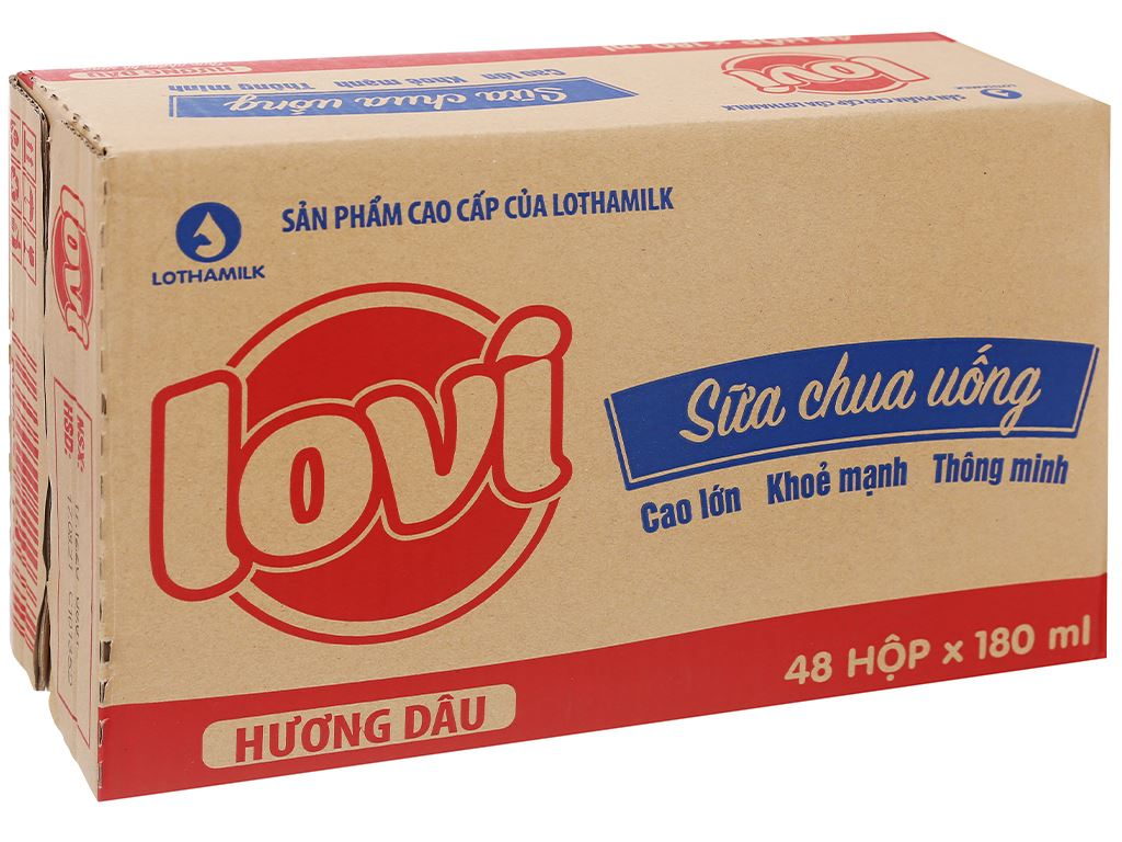 Thùng 48 hộp sữa chua uống hương dâu Lothamilk Lovi 180ml 1