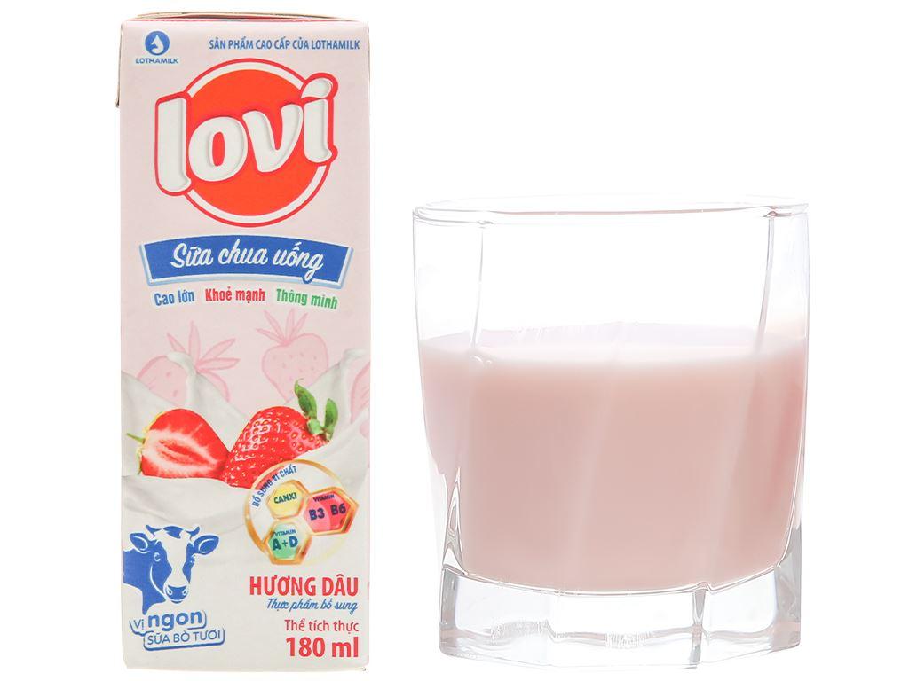 Thùng 48 hộp sữa chua uống hương dâu Lothamilk Lovi 180ml 9