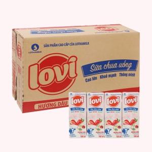 Thùng 48 hộp sữa chua uống hương dâu Lothamilk Lovi 180ml