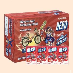 Thùng 48 hộp sữa trái cây vị dâu Vinamilk Hero hộp 110ml