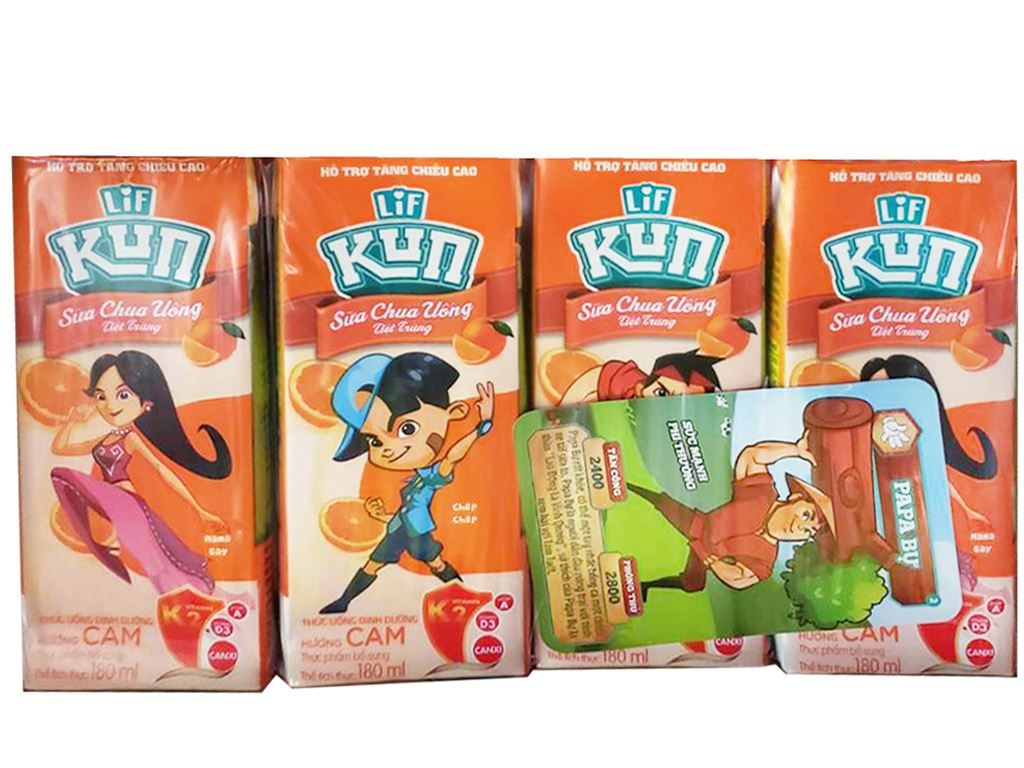 Lốc 4 hộp sữa chua uống LiF Kun cam 180ml 2