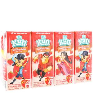 Lốc 4 hộp sữa chua uống LiF Kun kem dâu 180ml
