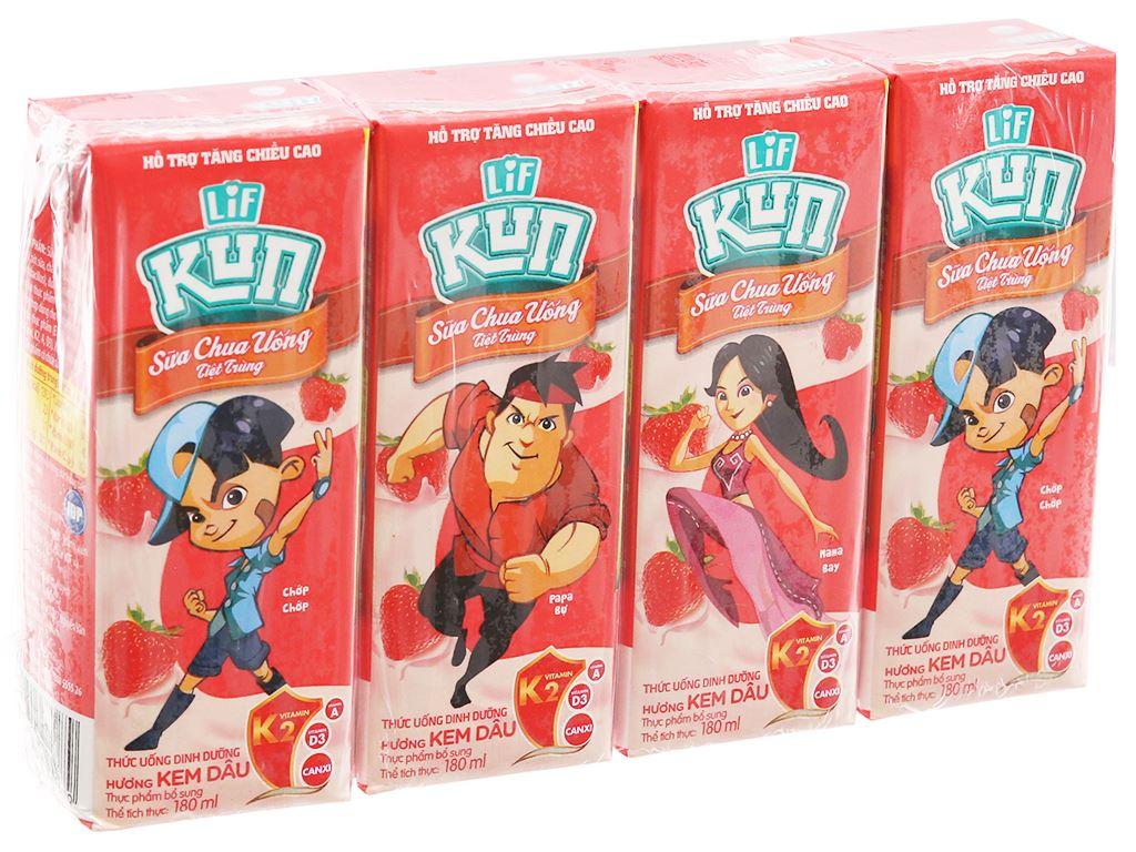 Lốc 4 hộp sữa chua uống LiF Kun kem dâu 180ml 9