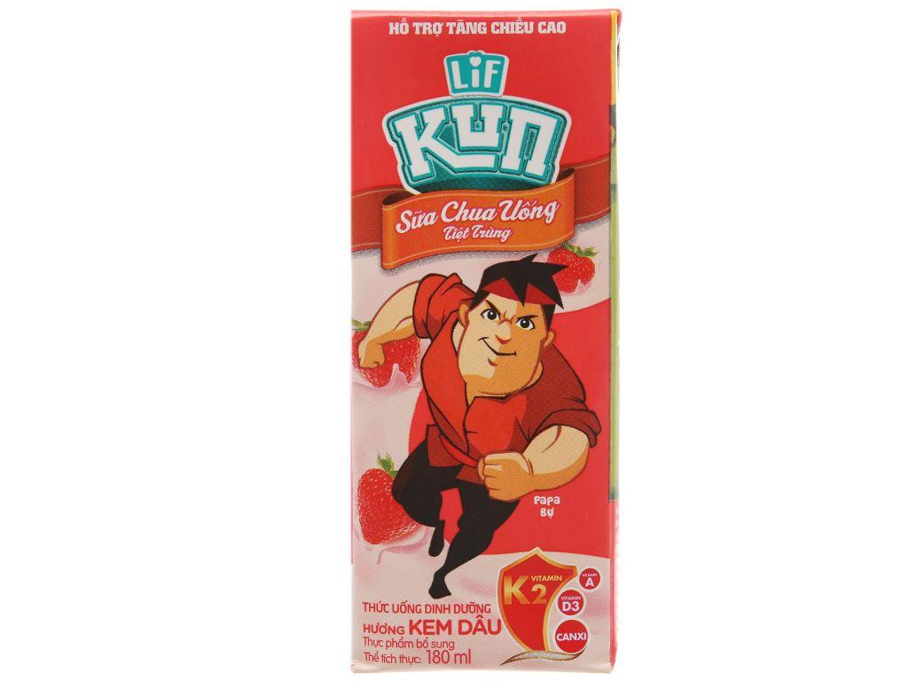 Lốc 4 hộp sữa chua uống LiF Kun kem dâu 180ml 3