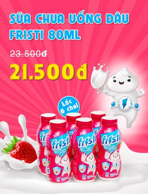 Lốc 6 chai sữa chua uống dâu Fristi 80ml