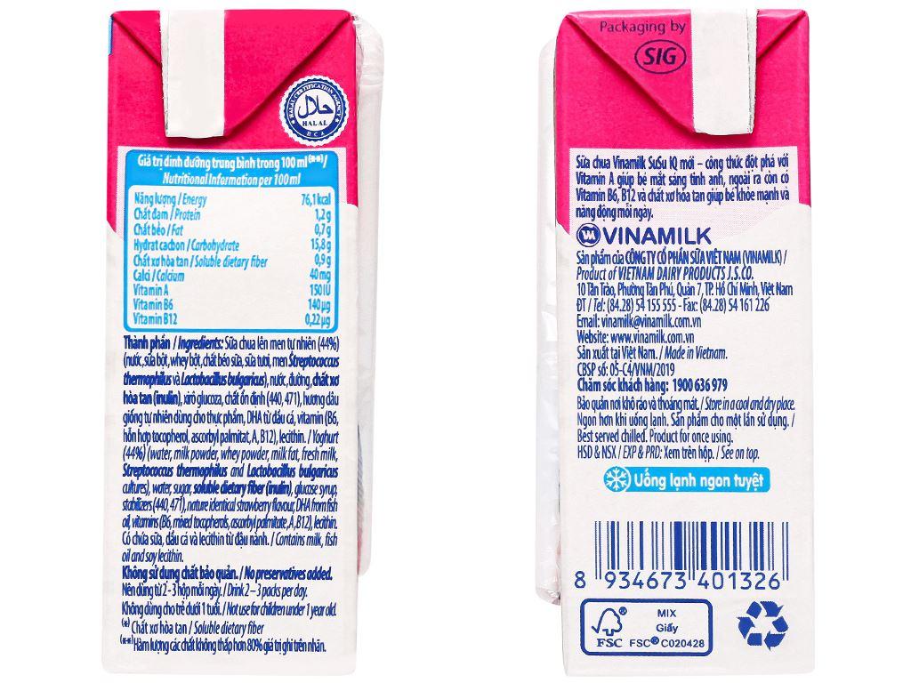 Lốc 4 hộp sữa chua uống SuSu vị dâu 110ml 9