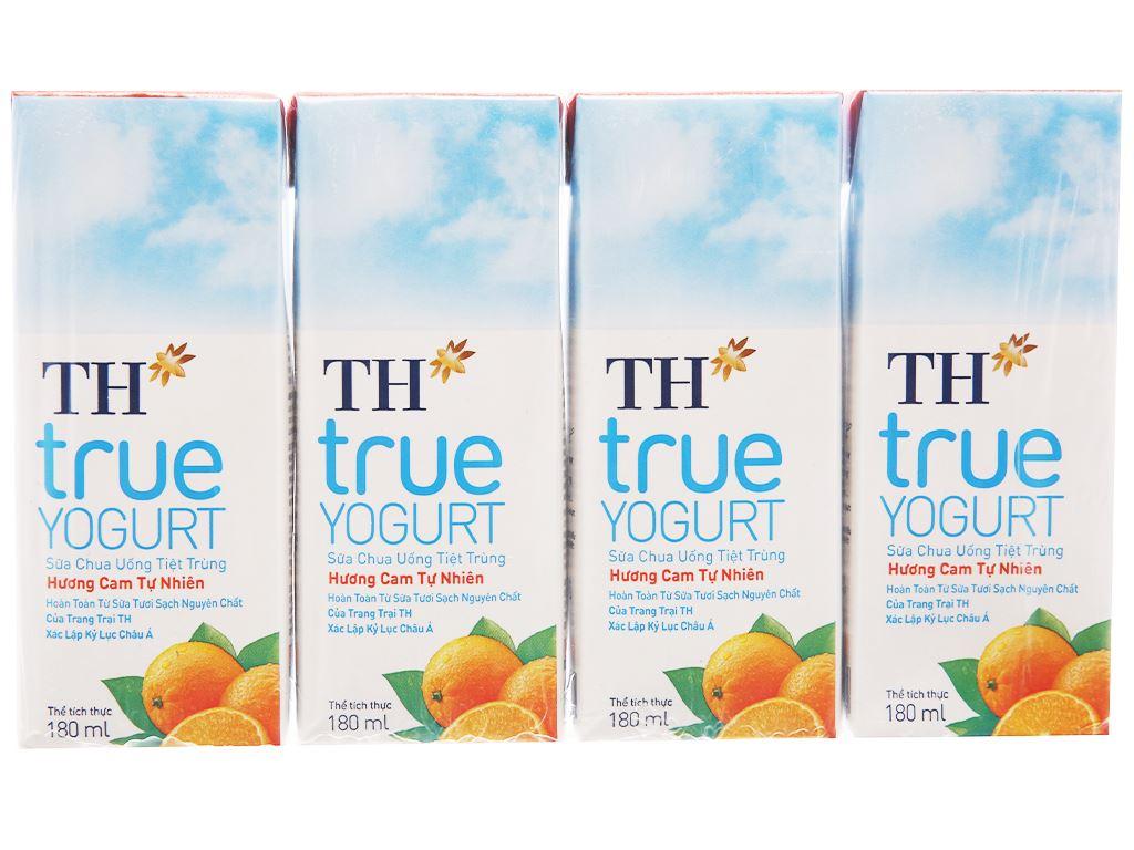 Lốc 4 hộp sữa chua uống TH True Yogurt cam 180ml 1