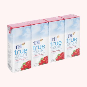 Lốc 4 hộp sữa chua uống hương dâu TH True Yogurt 180ml