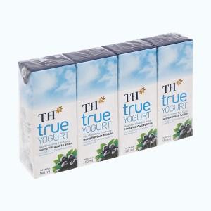 Lốc 4 hộp sữa chua uống hương việt quất TH True Yogurt 180ml