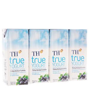 Lốc 4 hộp sữa chua uống TH True Yogurt việt quất 180ml