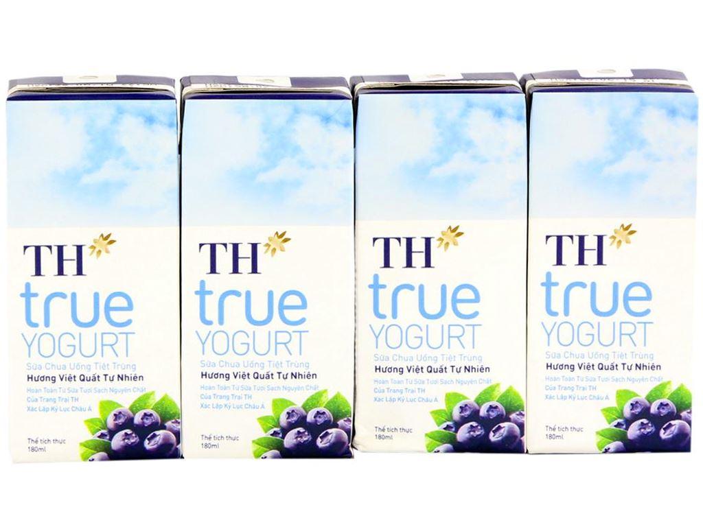 Lốc 4 hộp sữa chua uống hương việt quất TH True Yogurt 180ml 2