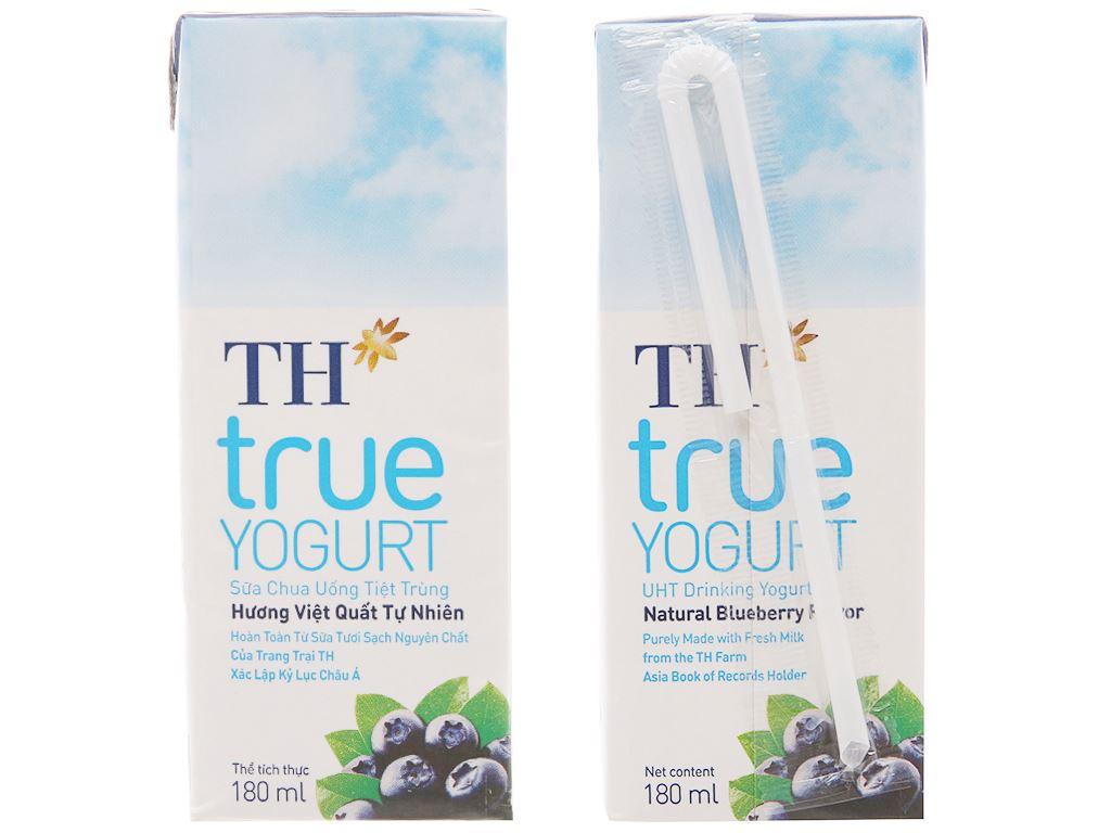Lốc 4 hộp sữa chua uống hương việt quất TH True Yogurt 180ml 3
