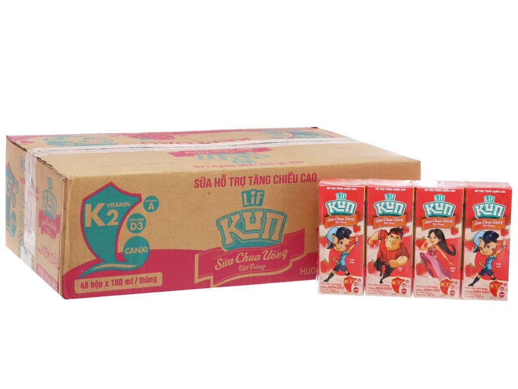 Thùng 48 hộp sữa chua uống hương kem dâu LiF Kun 180ml 2