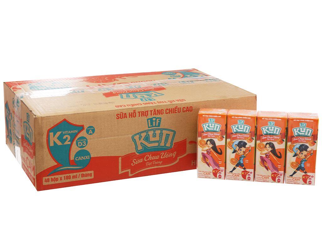 Thùng 48 hộp sữa chua uống LiF Kun cam 180ml 2