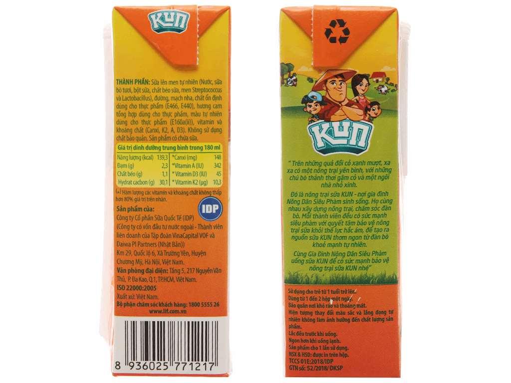 Thùng 48 hộp sữa chua uống LiF Kun cam 180ml 4