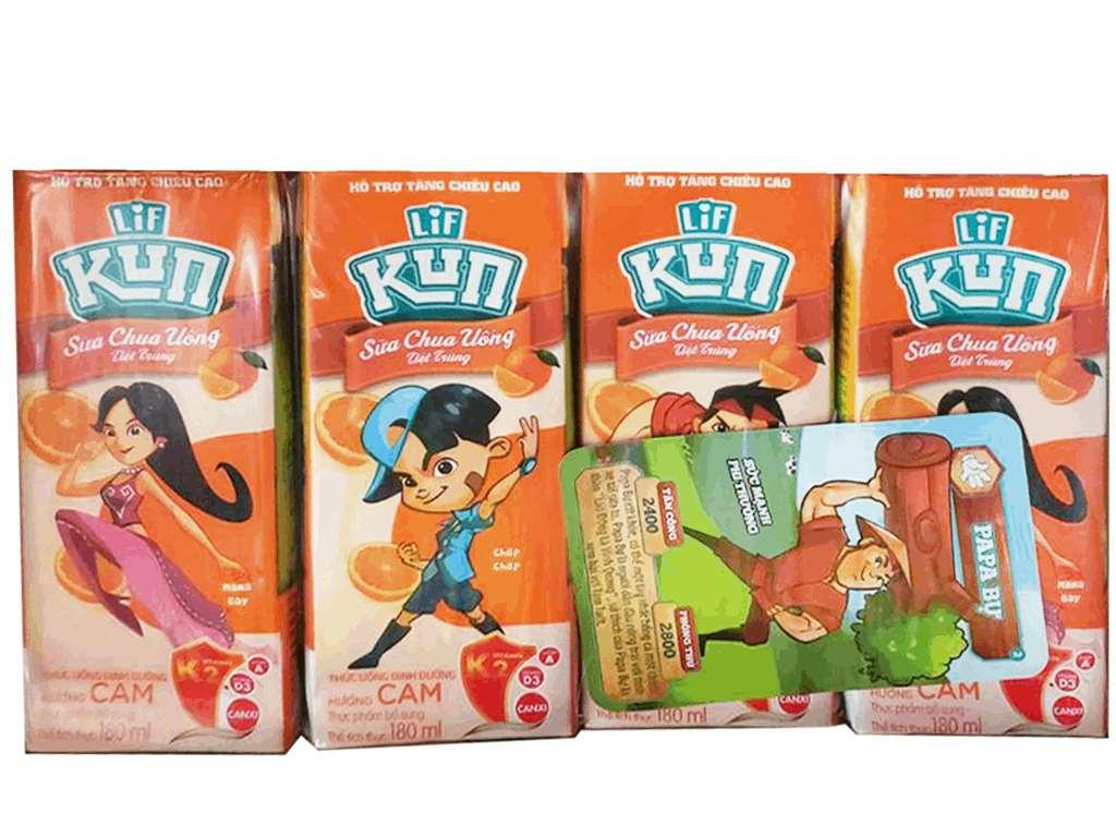 Thùng 48 hộp sữa chua uống LiF Kun cam 180ml 3