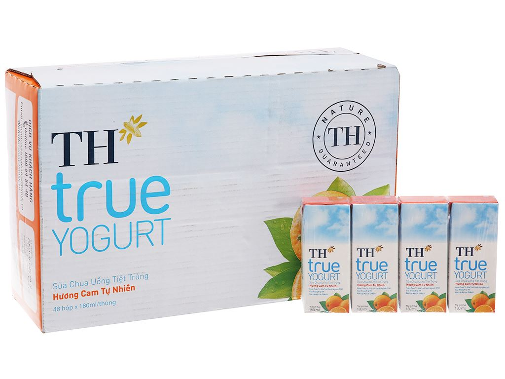 Thùng 48 hộp sữa chua uống TH True Yogurt cam 180ml 2