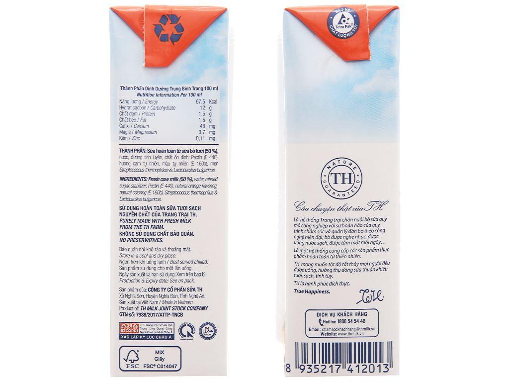 Thùng 48 hộp sữa chua uống TH True Yogurt cam 180ml 4