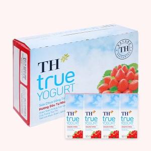 Thùng 48 hộp sữa chua uống hương dâu TH True Yogurt 180ml