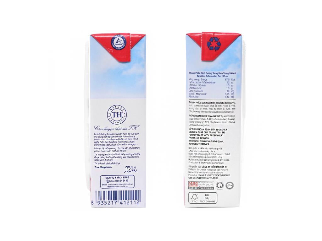 Thùng 48 hộp sữa chua uống TH True Yogurt dâu 180ml 4