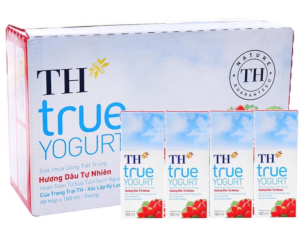 Thùng 48 hộp sữa chua uống TH True Yogurt dâu 180ml 1