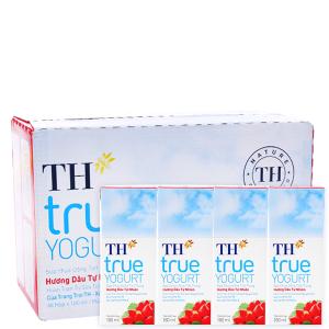 Thùng 48 hộp sữa chua uống TH True Yogurt dâu 180ml
