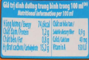 Bảng giá trị dinh dưỡng sữa chua uống SuSu cam chai 80ml