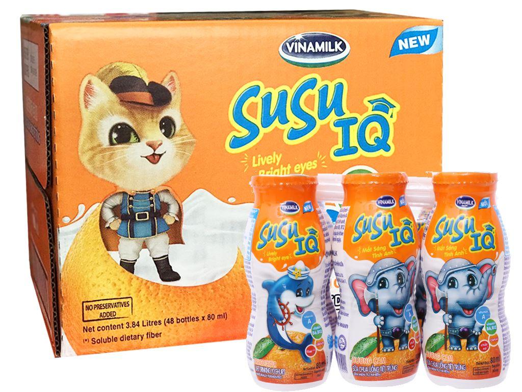 Thùng 48 chai sữa chua uống SuSu IQ cam 80ml 1