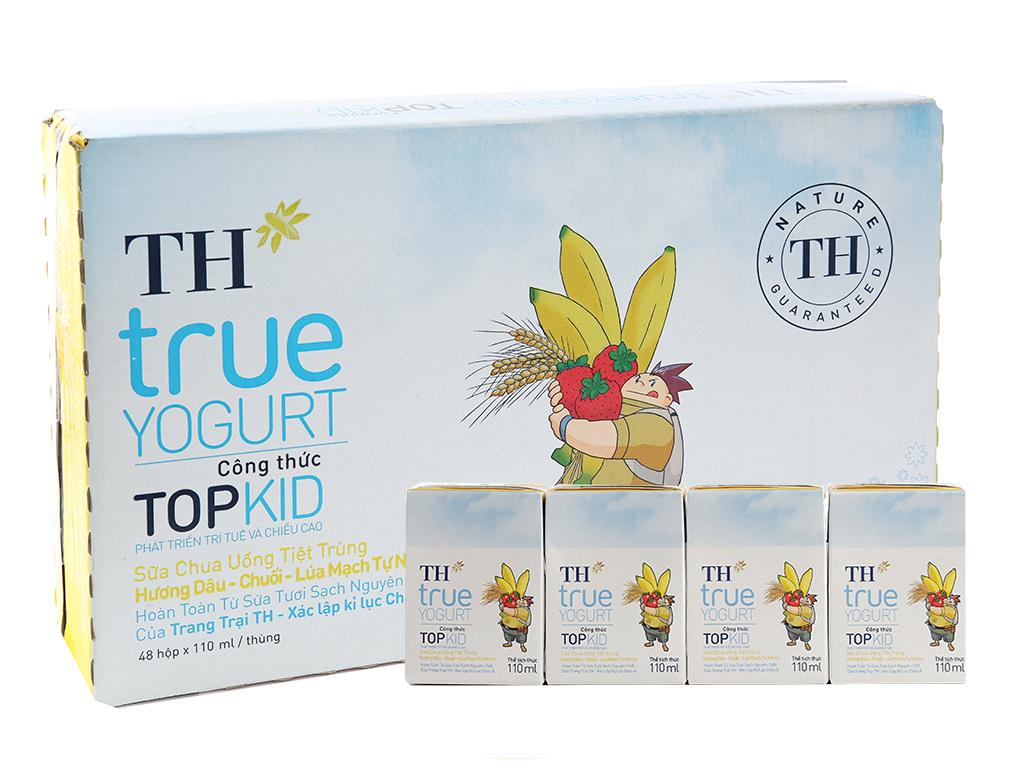 Thùng 48 hộp sữa chua uống TH True Yogurt Top Kid vị dâu chuối và lúa mạch 110ml 1