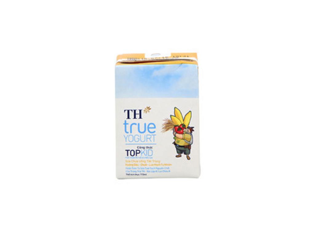 Thùng 48 hộp sữa chua uống TH True Yogurt Top Kid vị dâu chuối và lúa mạch 110ml 3