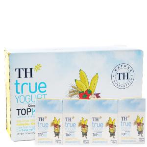Thùng 48 hộp sữa chua uống TH True Yogurt Top Kid vị dâu chuối và lúa mạch 110ml