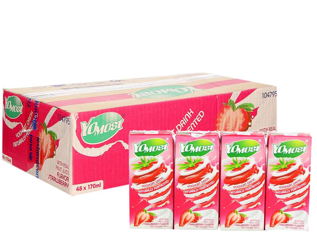 Thùng 48 hộp sữa chua uống hương dâu YoMost 170ml 1