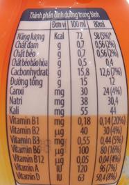 Bảng giá trị dinh dưỡng sữa chua uống Fristi cam chai 80ml 48 chai